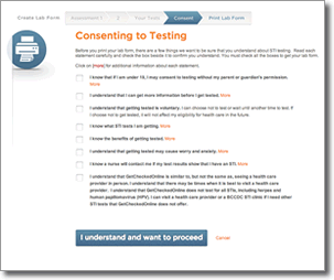 Consent to Testing page