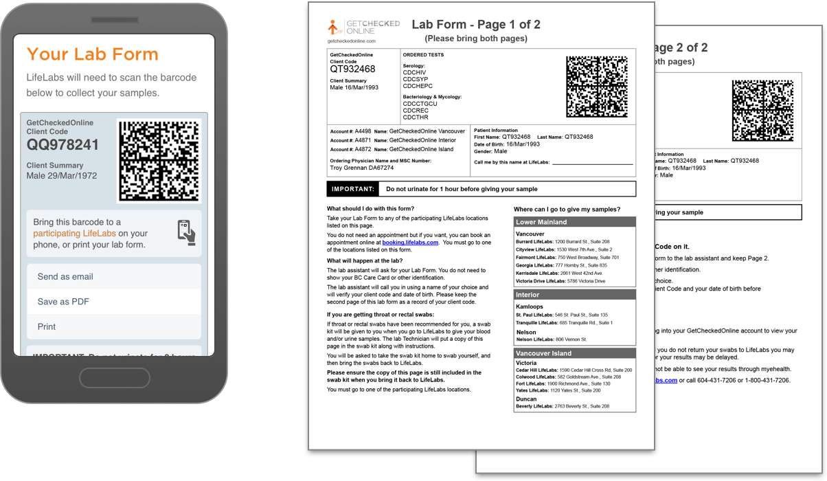 Your lab form can be presented on your mobile device or printed