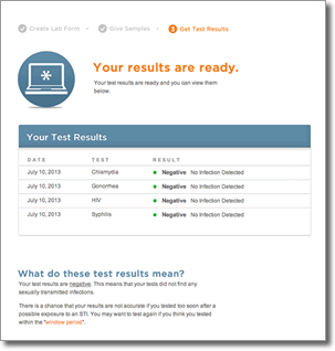 Tests and Results page